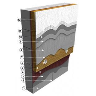 Система с газобетонным блоком утеплителем и декоративной штукатуркой