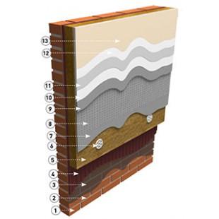 Система с рядовым кирпичом, утеплителем, финиш гладкий фасад